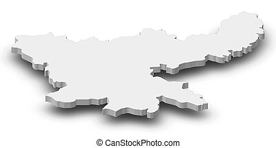 jharkhand, 地図, 3d-illustration, -, (india)