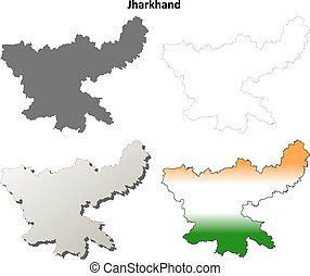 Jharkhand blank detailed outline map set