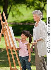 ji, zahrada, babička, vnučka, malba