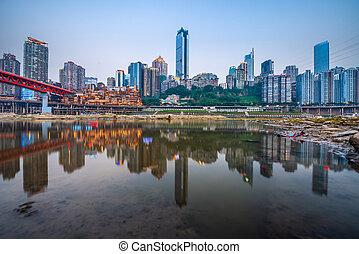 jialing, folyó, kína, láthatár, chongqing