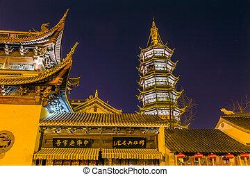 jiangsu, budista, pagoda, china, wuxi, estrellas, noche,...