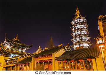 jiangsu, budista, pagoda, china, wuxi, noche, templo,...