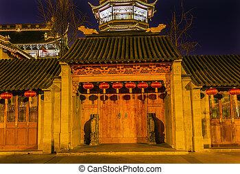 jiangsu, puerta, de madera, budista, pagoda, china, wuxi,...