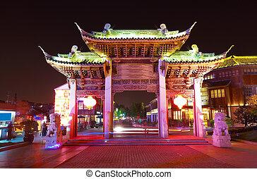 Wuxi nanchang street ornamental archway at night