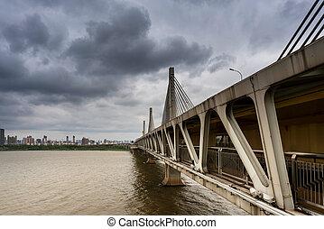 jiangxi, nanchang, china, provincia, ciudad, chaoyang, puente