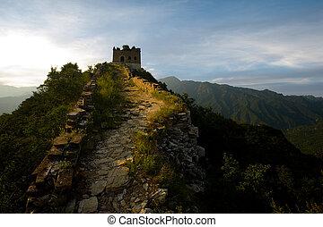 Jiankou Watchtower Great Wall China - The sun sets fiery red...