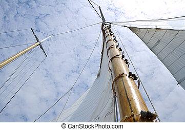 jib, en, houten, mast, van, schooner, zeilboot