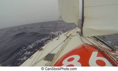 Jib to windward - Racing yacht with reefed mainsail and jib...