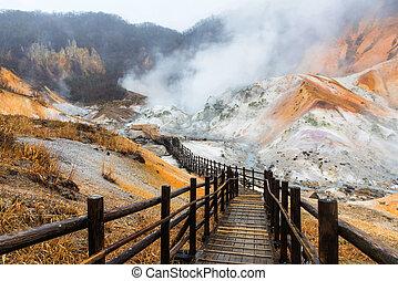 Jigokudani hell valley in Noboribetsu, Hokkaido