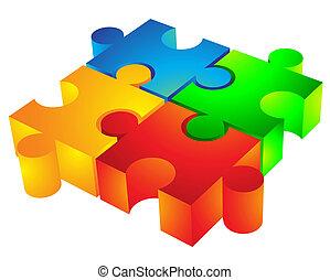 jigsaw:, 3d, icône