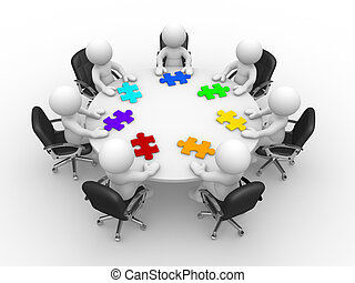 Jigsaw - 3d people - human character , person at a round ...