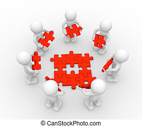 Jigsaw - 3d people - men , person and puzzle pieces ( jigsaw...