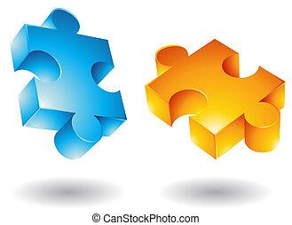 jigsaw:, 3d, voando, ícones