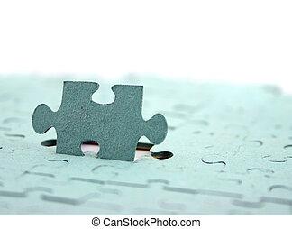 jigsaw, brandpunt, op, overeind, stuk, ondiep, dof