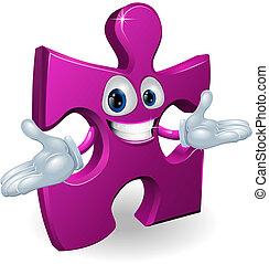 Jigsaw character - A happy smiling purple jigsaw piece...