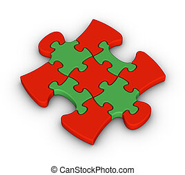jigsaw, colorito, pezzo