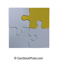 jigsaw, com, dourado, pedaço