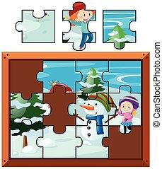 jigsaw confondono, bambini, neve, gioco