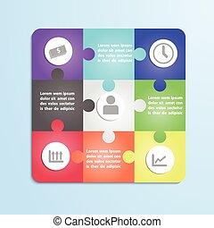 jigsaw confondono, infographic, sagoma