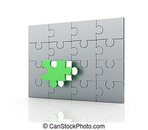 jigsaw confondono, pezzo, mancante