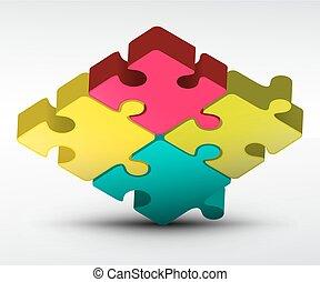 jigsaw confondono, vettore, illustrazione, 3d