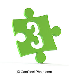 Jigsaw font 3d rendering, puzzle piece number 3