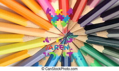 Jigsaw forming a heart and autism awareness month text against colorful pencils spinning