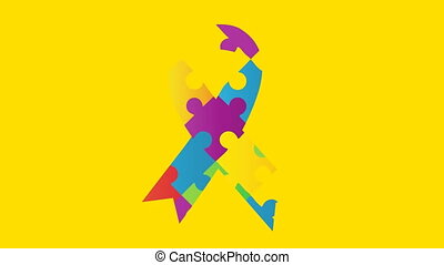 Jigsaw forming a ribbon against yellow background