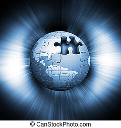 Jigsaw globe on abstract background
