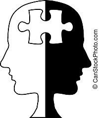 Jigsaw head silhouette