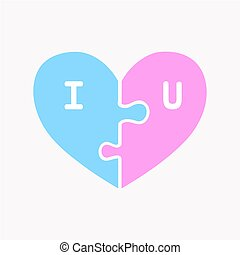 Jigsaw heart, Love card for Valentine's Day,