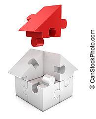 jigsaw house 3d illustration