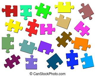 Jigsaw Illustrations - Jigsaw illustrations isolated against...