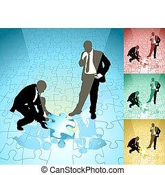 jigsaw, ilustração, conceito, negócio