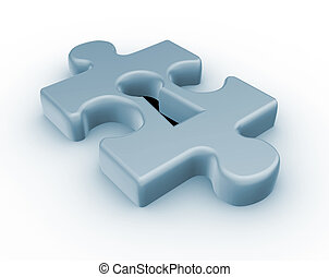 Jjigsaw puzzle piece keyhole - This is a 3d render illustration
