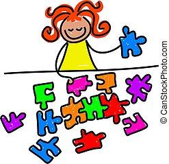 jigsaw kid - little girl doing a jigsaw puzzle - toddler art...