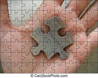 jigsaw, metallico, pezzo