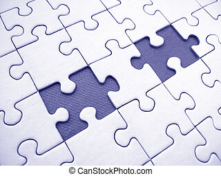 Jigsaw network - Blue jigsaw pattern with two blue pissing...
