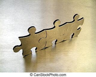 Jigsaw network - Three steel jigsaw on metallic background