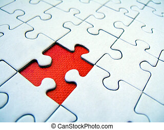 Jigsaw pattern with one red missing element