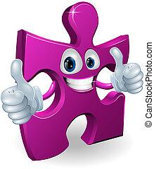 Jigsaw piece cartooon man