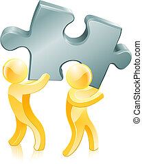 Jigsaw piece gold people illustration of two gold people...