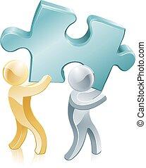 Jigsaw piece mascots - People carrying a giant jigsaw piece,...