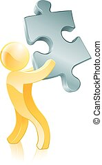 Jigsaw piece person - An illustration of a 3d mascot person...