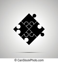 Jigsaw piece puzzle simple black icon with shadow