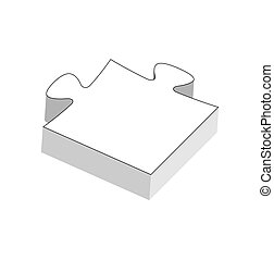 jigsaw piece - The isolated three dimensional blank puzzle...