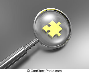 Jigsaw Piece with Magnifying Glass