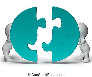 Jigsaw Pieces Being Joined Showing Teamwork And Togetherness...