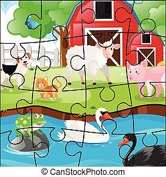 Jigsaw pieces of animals on the farm