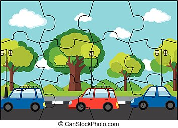 Jigsaw pieces of cars on road